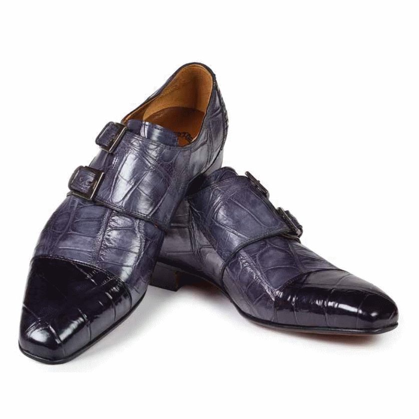 Mauri 1152 Traiano Alligator Double Monk Strap Shoes Black / Gray (SPECIAL ORDER) Image