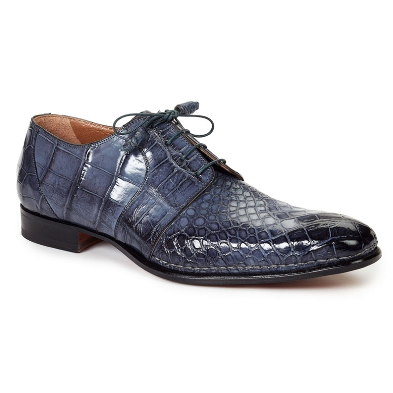 Mauri 1192 Balzac Alligator Derby Shoes Charcoal Gray (SPECIAL ORDER) Image