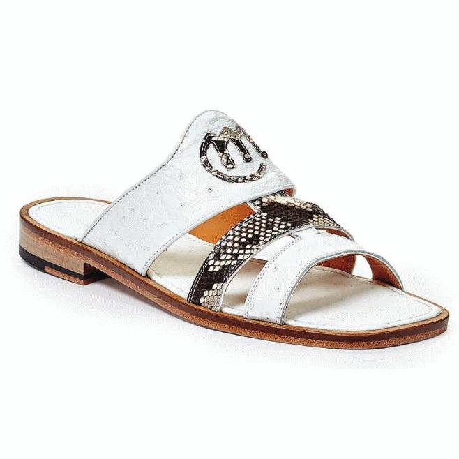 Mauri 1255-1 Poccianti Ostrich Python Sandals White (Special Order) Image
