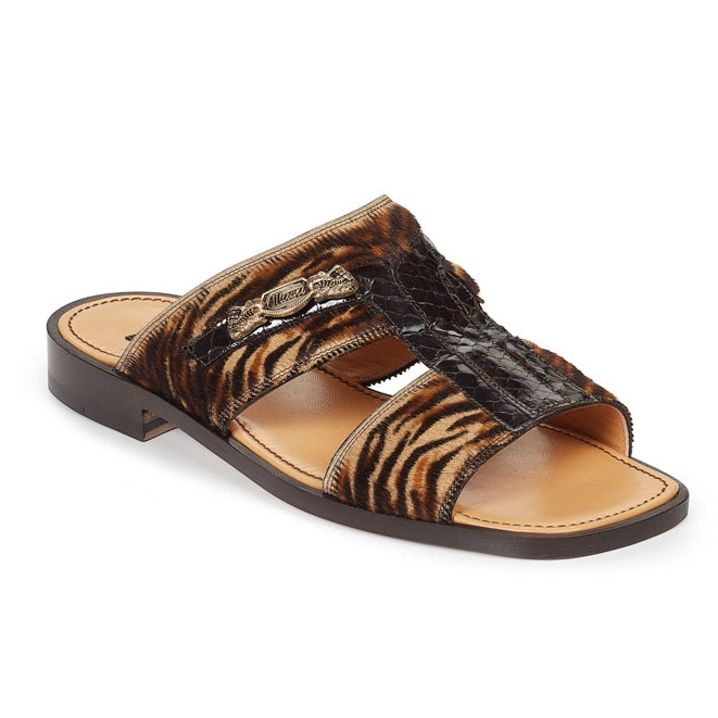 Mauri 1450 Savana Horse Hair & Snakeskin Sandals Brown (Special Order) Image