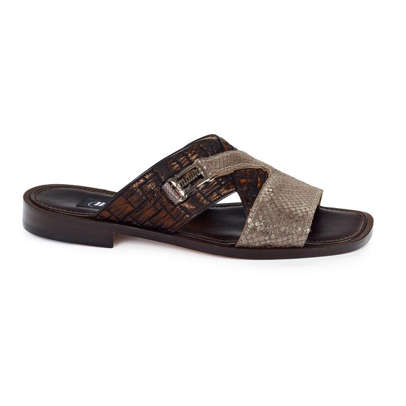 Mauri 1543 Atreo Calfskin & Fabric Sandals Dove Gray / Bronze (Special Order) Image
