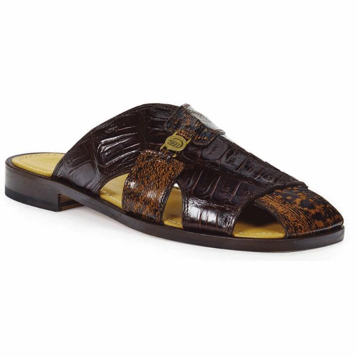 Mauri 1615 Barabino Shark & Crocodile Sandals Brown & Gold Rust (Special Order) Image