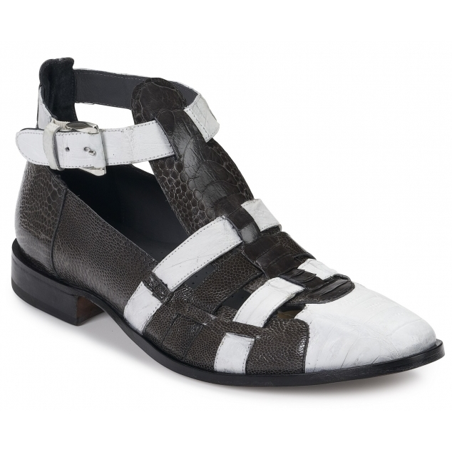 Mauri 3025 Cervaro Crocodile & Ostrich Sandals Gray / White Image