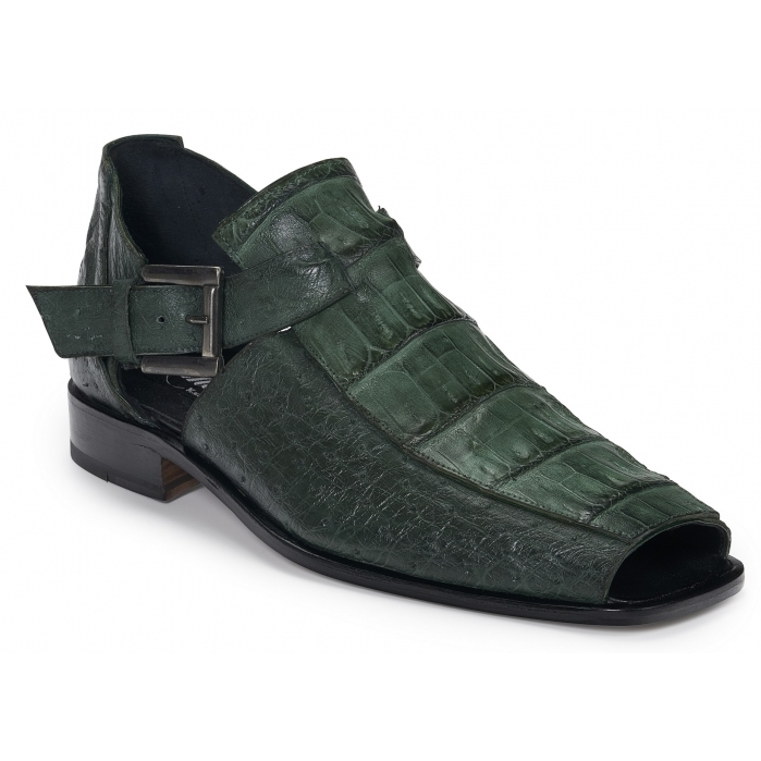 Mauri 3035 Olona Crocodile & Ostrich Sandals Hunter Green Image