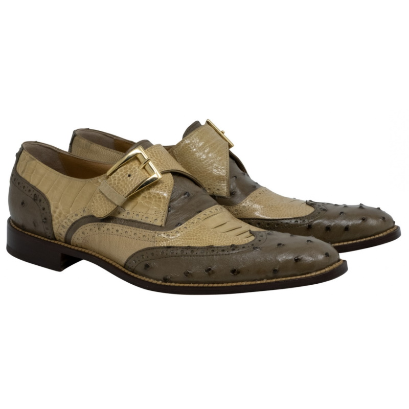 Mauri 3040 Corleone Ostrich Monk Strap Shoes Mousse & Dune (Special Order) Image
