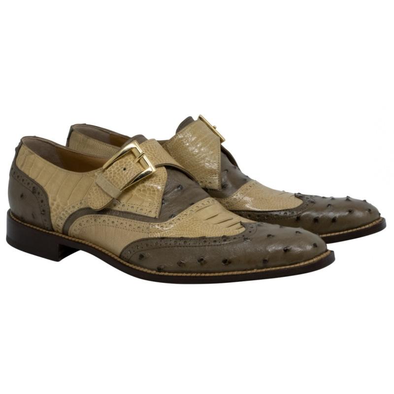 Mauri 3040 Corleone Ostrich Monk Strap Shoes Mousse & Dune Image