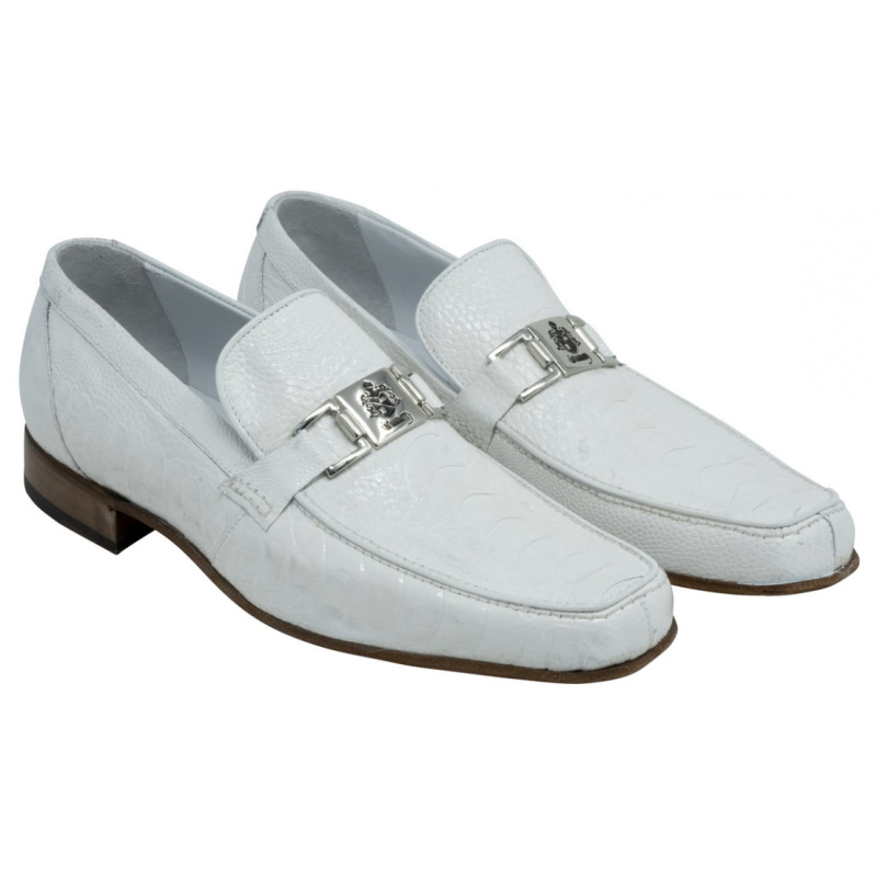 Mauri 3042 Royalty Ostrich Bit Loafers White Image