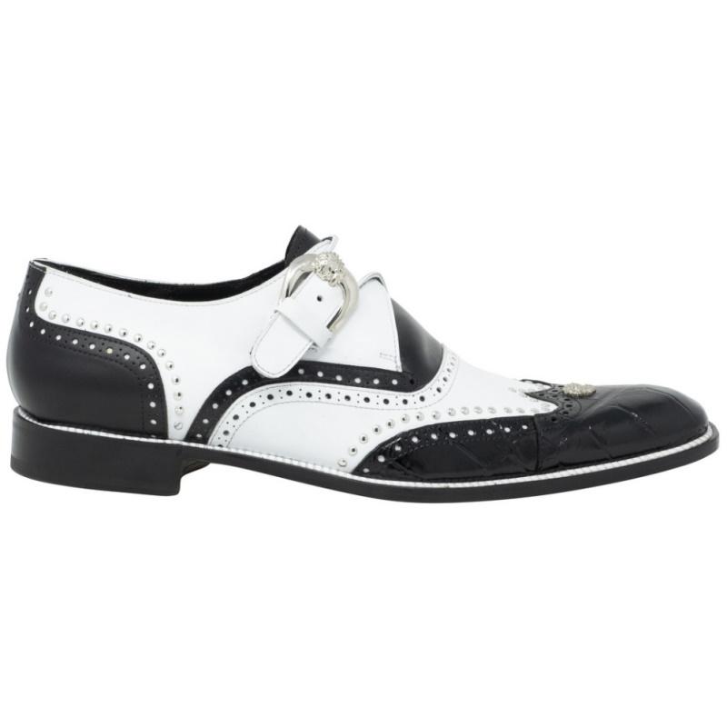 Mauri 3051 Alligator & Calfskin Monk Strap Black/White Image
