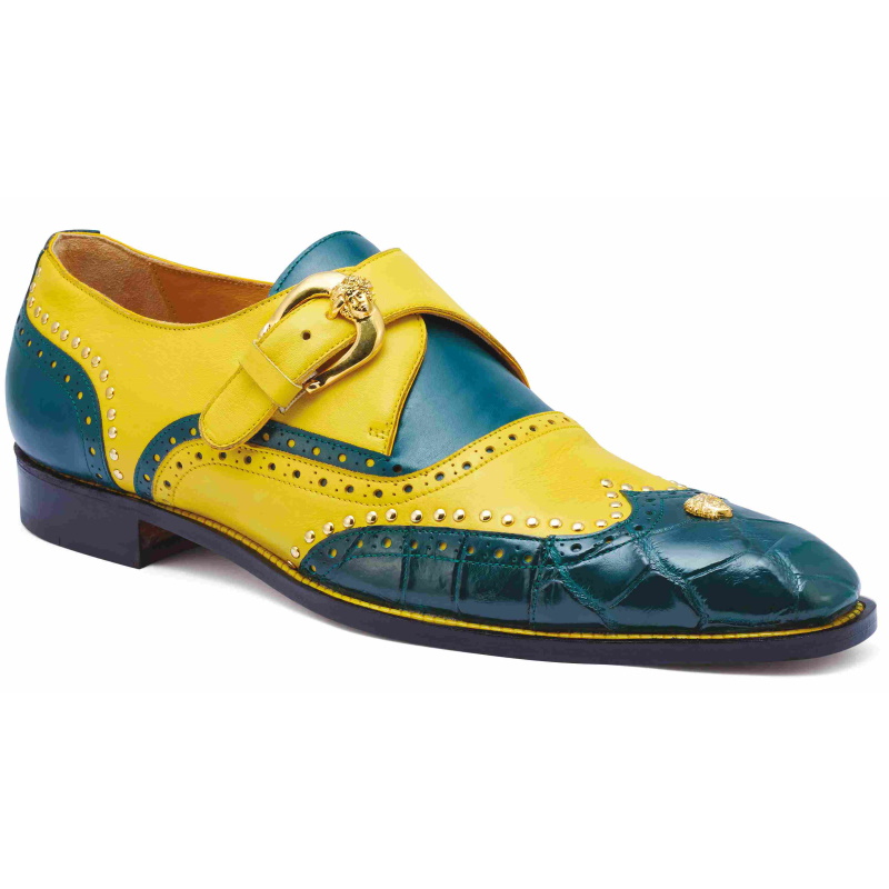 Mauri 3051 Godfather Alligator Monk Strap Forest Green / Yellow Image