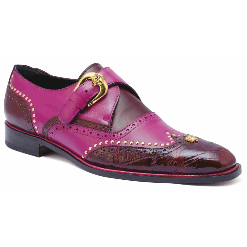 Mauri 3051 Godfather Alligator Monk Strap Ruby Red / Fuscia (Special Order) Image