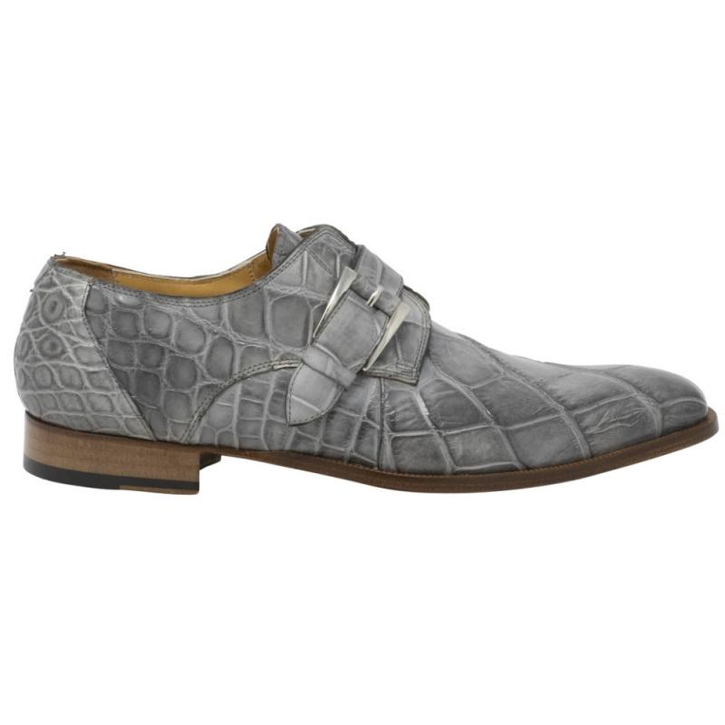 Mauri 3054 High Speed Alligator Monk Strap Shoes Gray Image