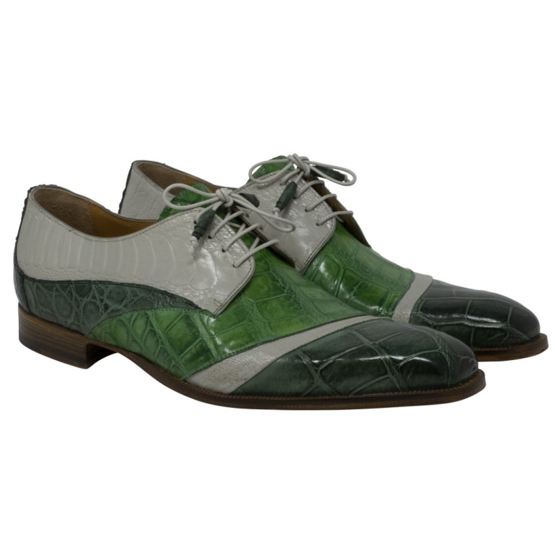 Mauri 3064 Swag Alligator & Ostrich Shoes Hunter Green / Acre Raindrops / Emerald (SPECIAL ORDER) Image