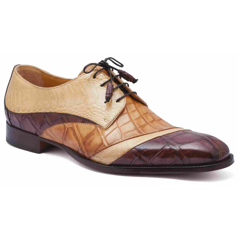 Mauri 3064 Swag Alligator & Ostrich Shoes Tmoro / Brandy / Bone (Special Order) Image