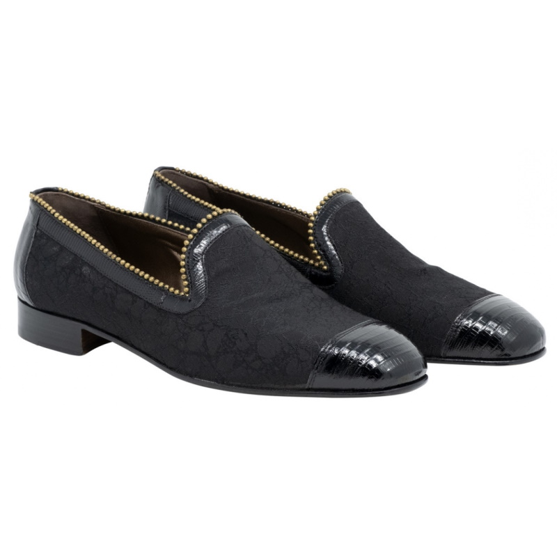 Mauri 3073 Finesse Lizard & Fabric Loafers Black Image