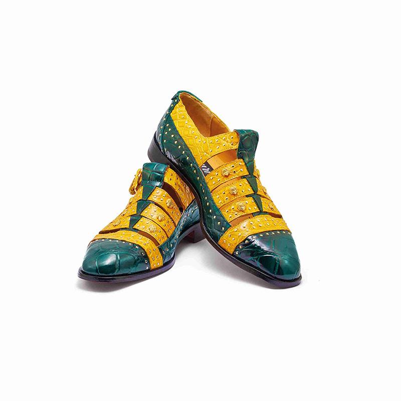 Mauri 3082 Body Alligator / Croco Flanks Shoes Hunter Green / Taxi Yellow Image