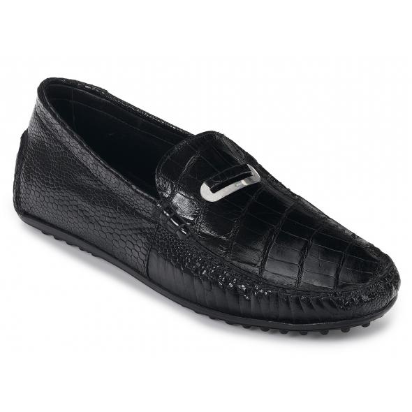 Mauri 3412 Tartaro Ostrich & Alligator Driving Shoes Black Image