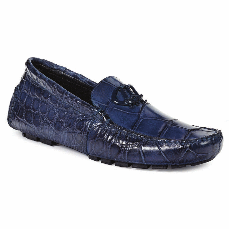 Mauri 3420 Bartolini Alligator Driving Shoes Wonder Blue (Special Order) Image
