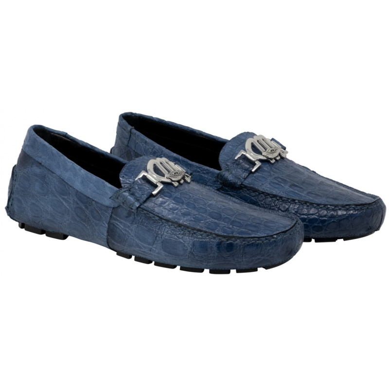 Mauri 3485 Tide Crocodile Flanks Driving Loafers Caribbean Blue Image