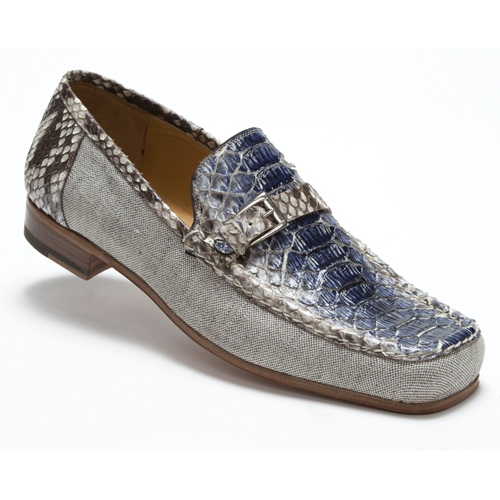 Mauri 3942 Ca'd'oro Python & Linen Strap Loafers Blue / Brown (Special Order) Image