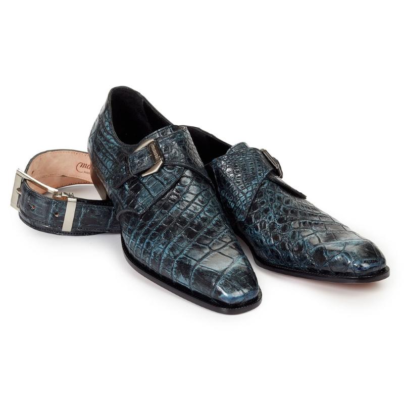 Mauri 4118 Pompeii Alligator Monk Strap Shoes Blue / Black (SPECIAL ORDER) Image