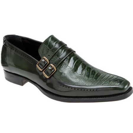 Mauri 4361 Calfskin Ostrich Leg Monk Strap Loafers Green (Special Order) Image