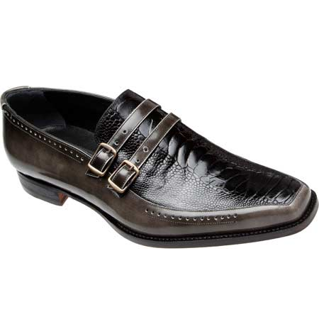 Mauri 4361 Calfskin Ostrich Leg Monk Strap Loafers Grey (Special Order) Image