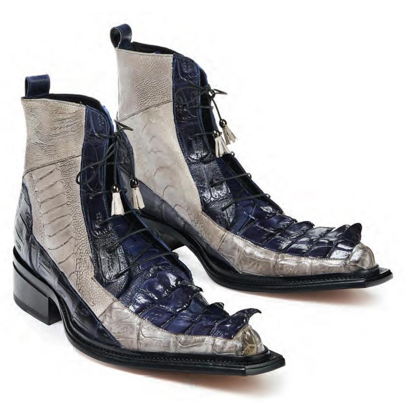 Mauri 44187 Dragon Croc Hornback Ostrich Leg Boots Wonder Blue (Special Order) Image