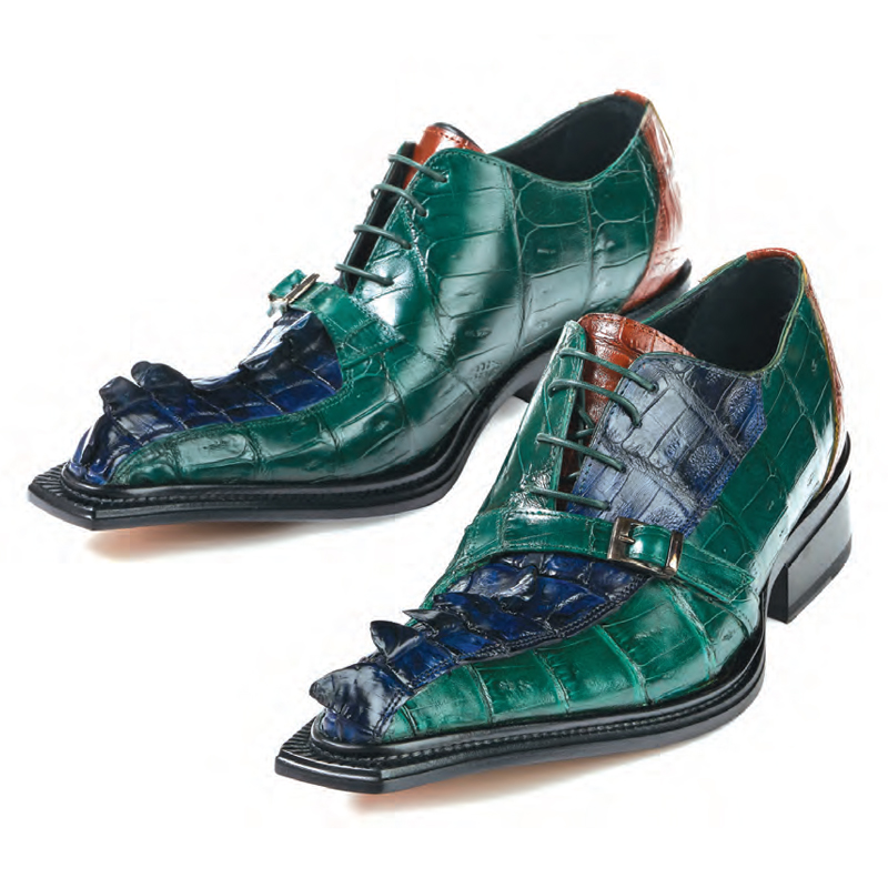 Mauri 44190 Raptor Hornback & Croc Shoes Iris Blue / Country Green Image