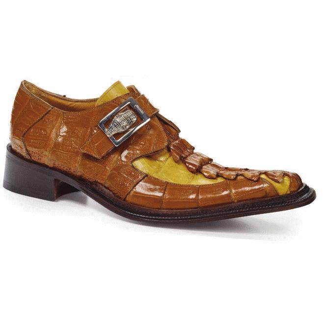 Mauri 44192 Piermarini Crocodile & Hornback Monk Strap Corn / Yellow Pepper (Special Order) Image