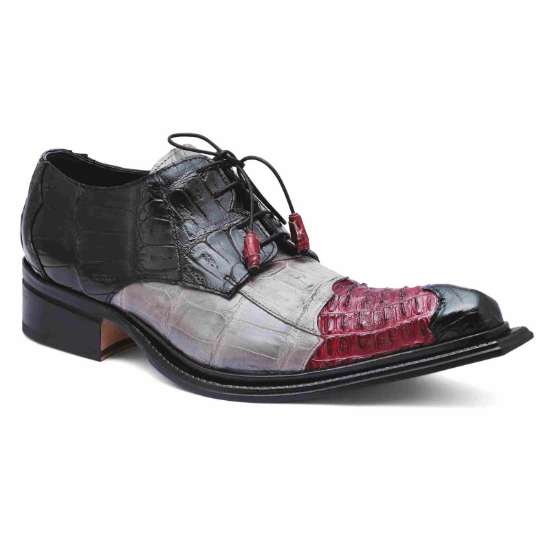 Mauri 44207 Piave Crocodile & Hornback Shoes Black/Ruby Red/Gray Image