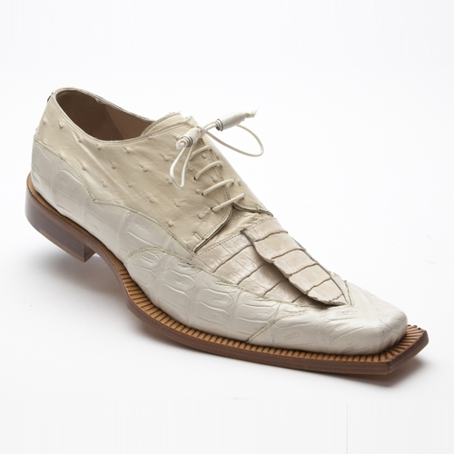 Mauri 44272 Ostrich / Crocodile / Hornback Shoes Cream (Special Order) Image