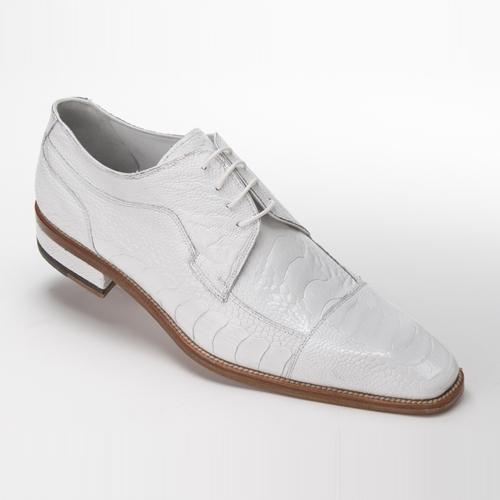 Mauri 4598 Carrara Ostrich Leg Cap Toe Shoes White (Special Order) Image