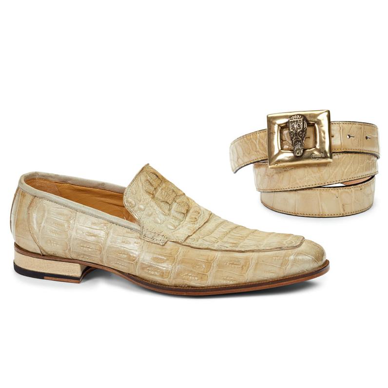 Mauri 4615 Hornback & Crocodile Loafers Bone (Special Order) Image