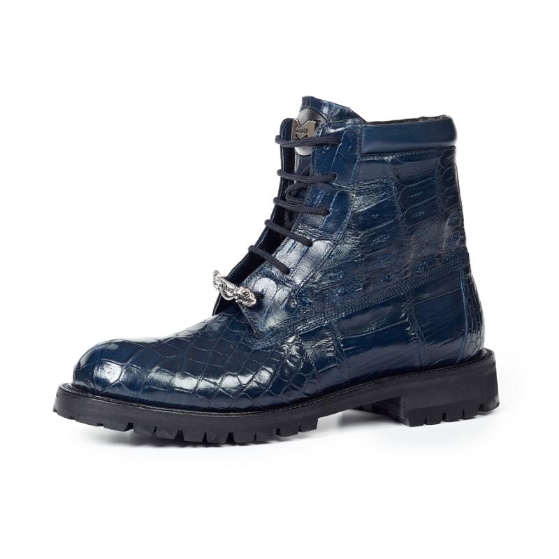 Mauri 4637 Commando Alligator & Ostrich Leg Boots Wonder Blue (Special Order) Image