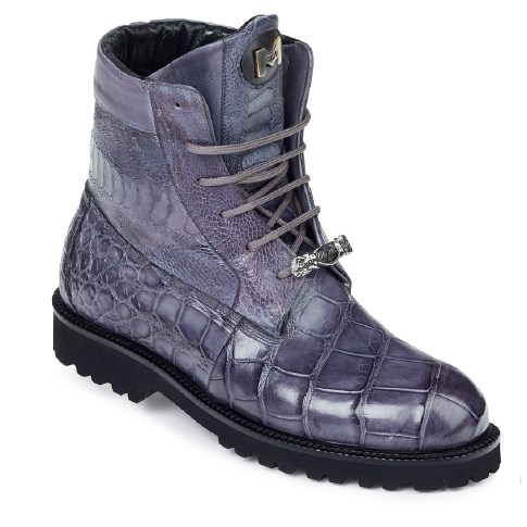 Mauri 4637 Commando Alligator / Ostrich Leg / Nappa Boots Medium Gray (Special Order) Image