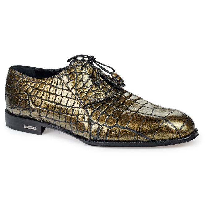 Mauri 4649 Atlas Alligator Derby Shoes Metallic Brass Image