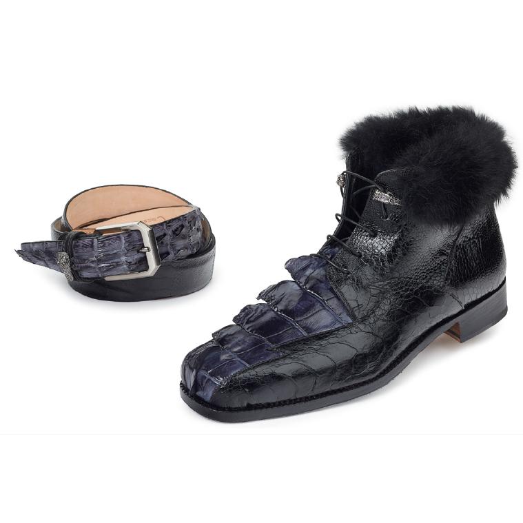 Mauri 4683 Polar Hornback & Ostrich Leg Boots Medium Gray / Black (Special Order) Image