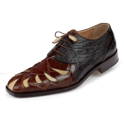 Mauri 4691 Brut Alligator & Ostrich Leg Dress Shoes Camel / Bone / Dark Brown (SPECIAL ORDER) Image