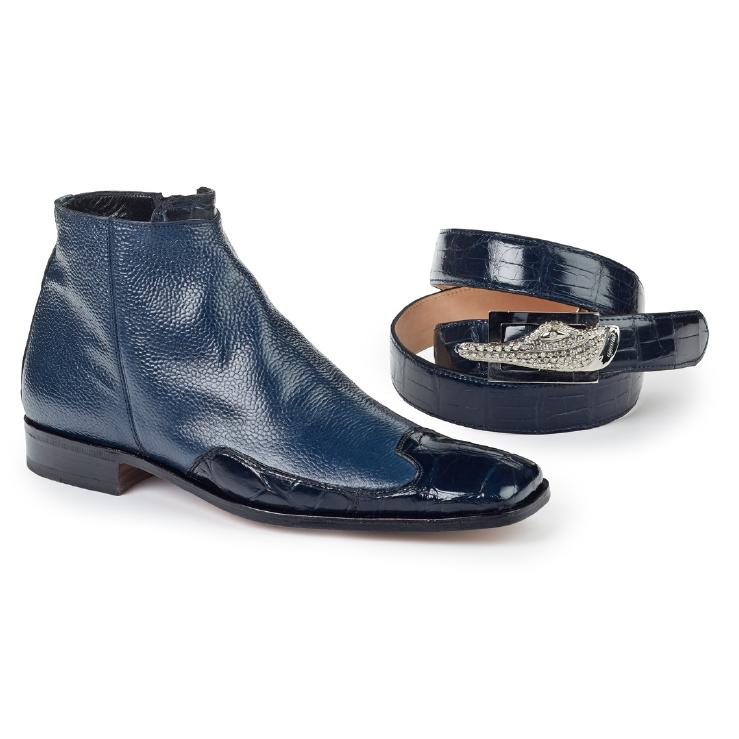Mauri 4699 Pebble Grain & Body Alligator Zipper Boots Wonder Blue (Special Order) Image