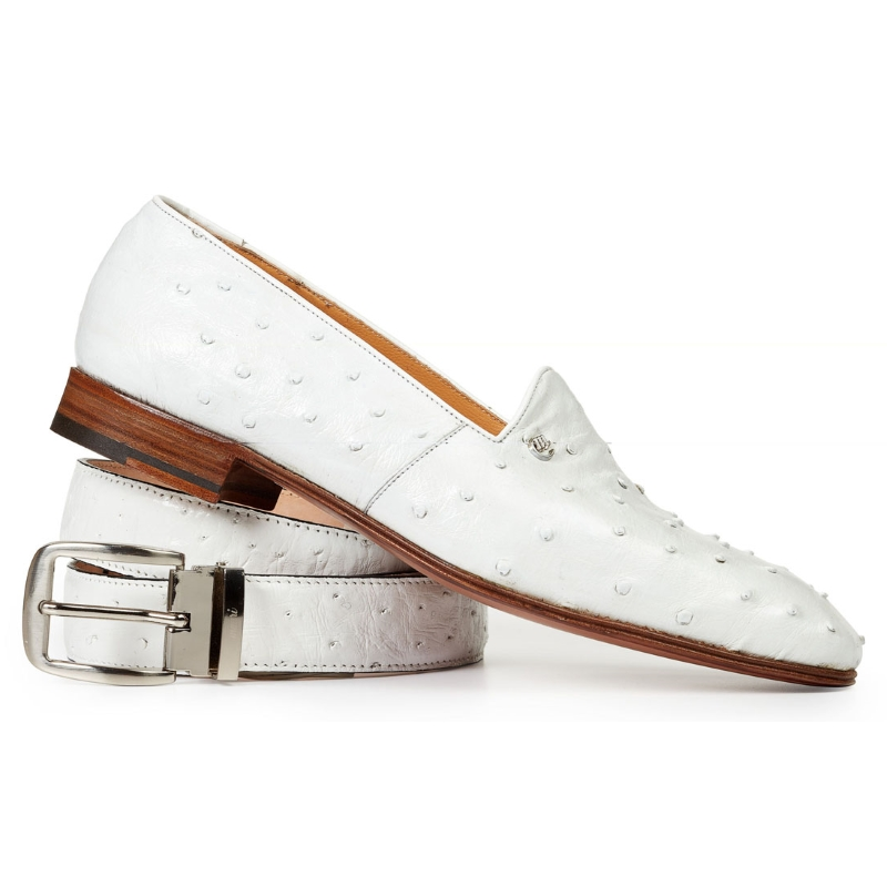 Mauri 4732 Bianca Ostrich Quill Loafers White (SPECIAL ORDER) Image