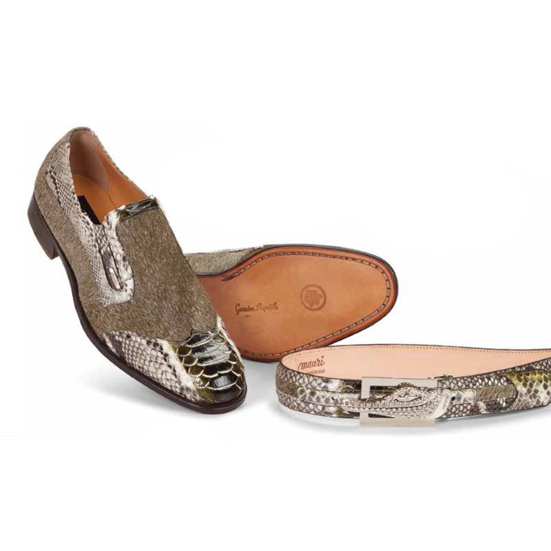 Mauri 4748 Spiga Python & Horsehair Wingtip Loafers Natural/Green (Special Order) Image
