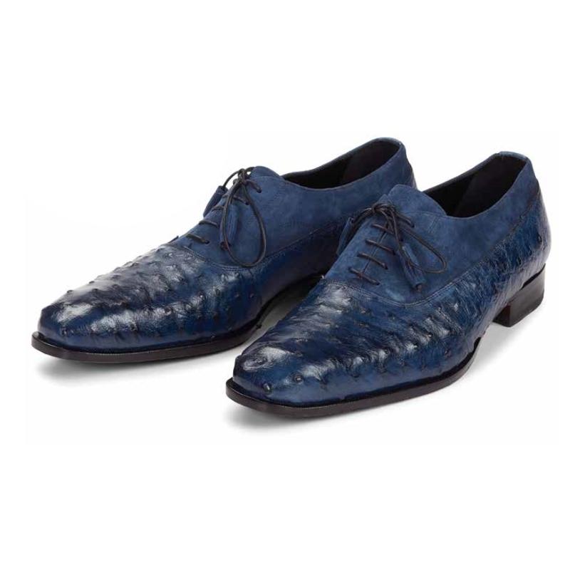 Mauri 4762 Dante Ostrich Quill & Suede Oxfords Wonder Blue (Special Order) Image