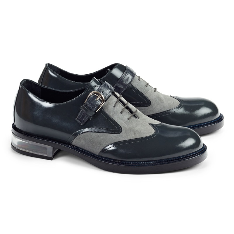 Mauri 4781 Tacito Suede & Calfskin & Croc Wingtip Shoes Gray (Special Order) Image