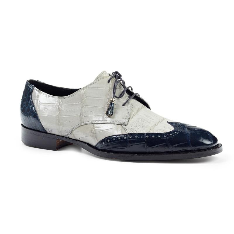 Mauri 4793 Adriano Alligator Wingtip Shoes Wonder Blue / Acre Raindrops (Special Order) Image