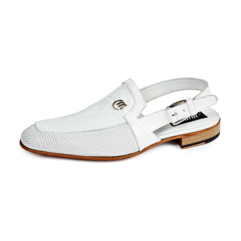 Mauri 4798 Venere Alligator & Calfskin Sandals White (Special Order) Image