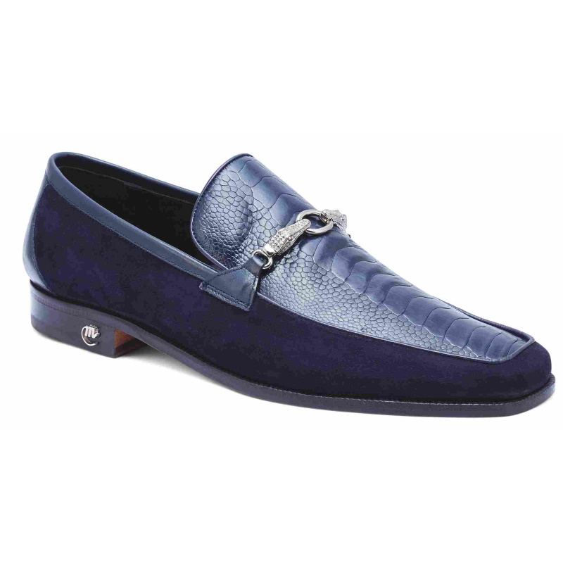 Mauri 4800 Priest Ostrich & Suede Loafers Wonder Blue Image