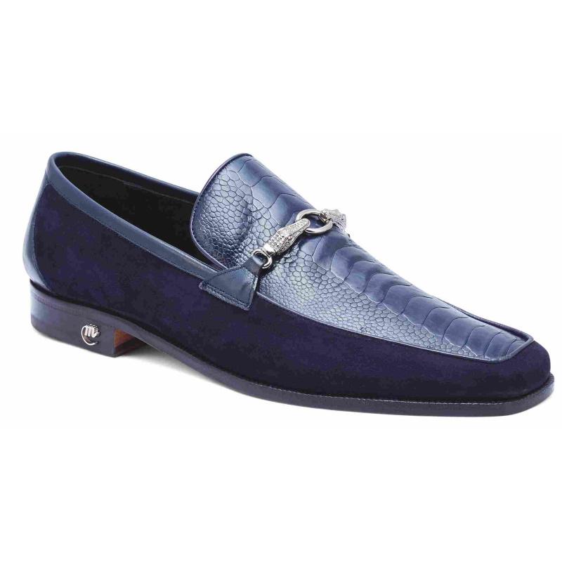 Mauri 4800 Priest Ostrich & Suede Loafers Wonder Blue Image