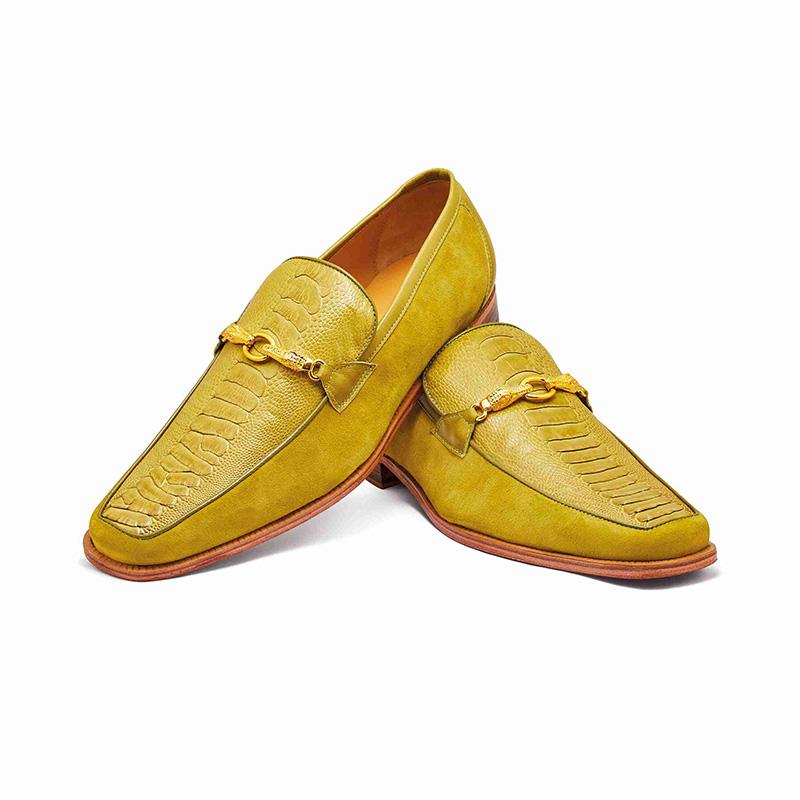 Mauri 4800 Suede / Calfskin / Ostrich Leg Loafer Apple (Special Order) Image