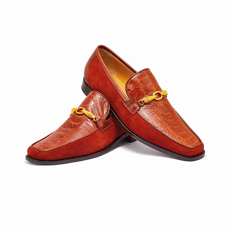 Mauri 4800 Suede / Calfskin / Ostrich Leg Loafer Gold (Special Order) Image