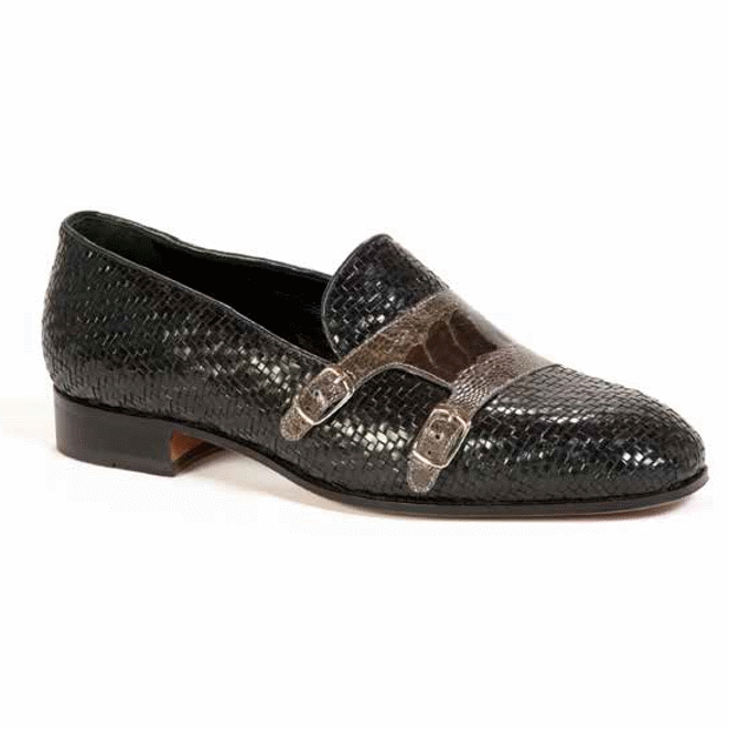 Mauri 4811 Espiga Woven & Ostrich Leg Loafers Black / Gray (SPECIAL ORDER) Image